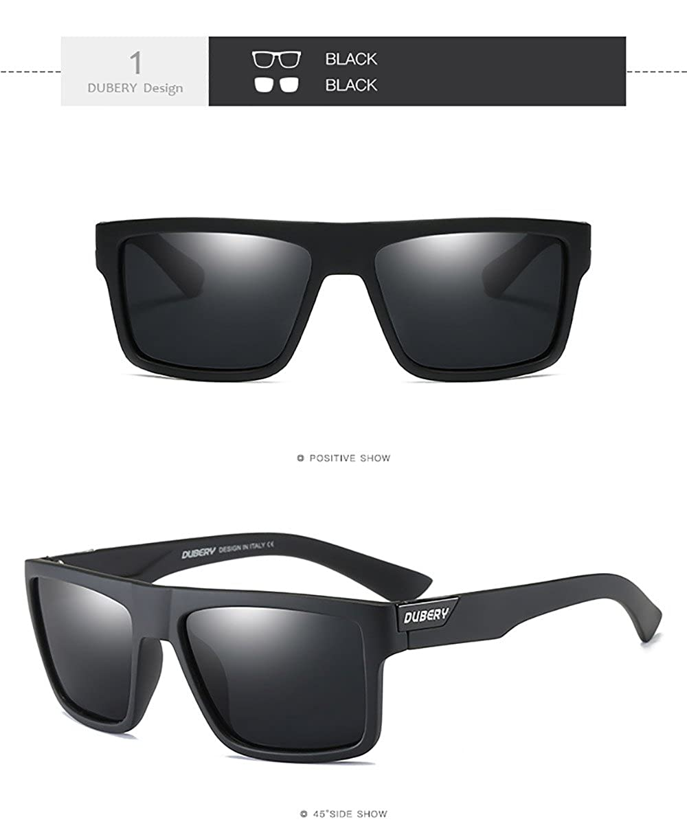 1bcc69194a Amazon.com  DUBERY Mens Sport Polarized Sunglasses Outdoor Riding Square  Windproof Eyewear ( 1)  Clothing