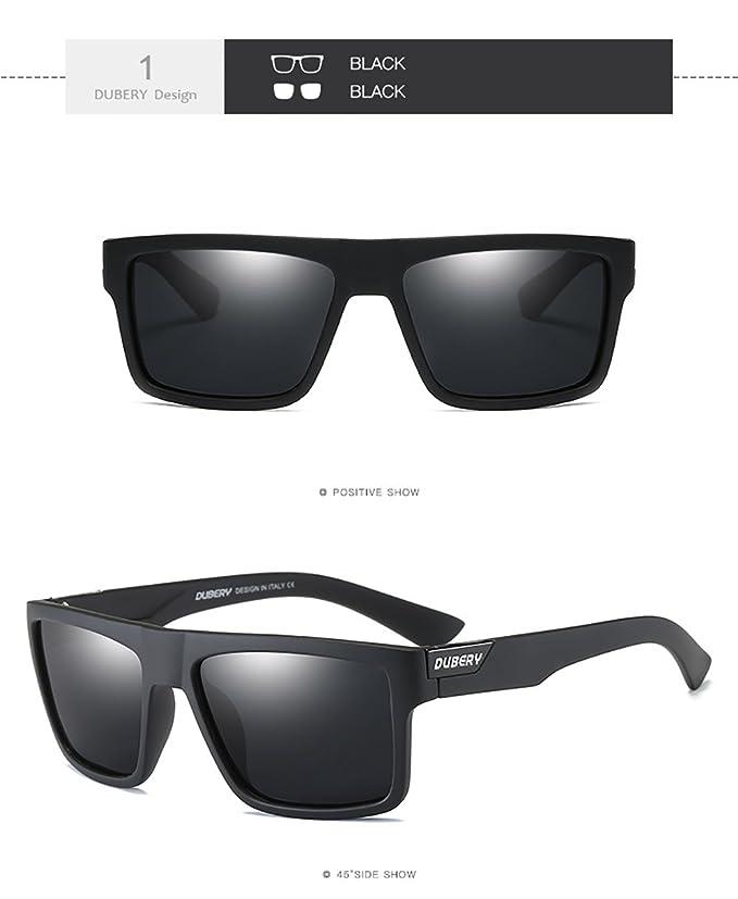 2f37f7ba8e Amazon.com  DUBERY Mens Sport Polarized Sunglasses Outdoor Riding Square  Windproof Eyewear ( 1)  Clothing