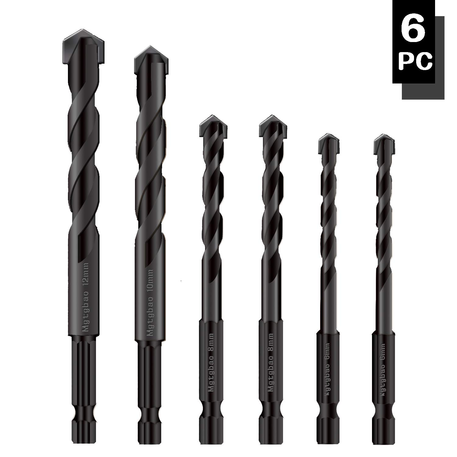 【2020 neu Type】6Pcs Black Masonry Drill Bits Set, Mgtgbao Ceramic Tile Drill Bits Carbide Tip für Glass, Brick, Tile, Concrete, Plastic und Wood mit Size 6, 6, 8, 8,10,12Mm.