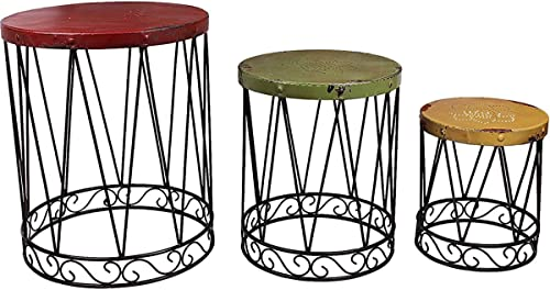 Morning View Nostalgia Metal Nesting Table Set of 3 Round Plant Pot Stand Side End Table Decorative Garden Stool