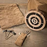 Viking Axe Throwing Game Set, Wooden Frisbee and 3 Small Hatchets, Wooden Dart and Axe Frisbee Toy Game Viking
