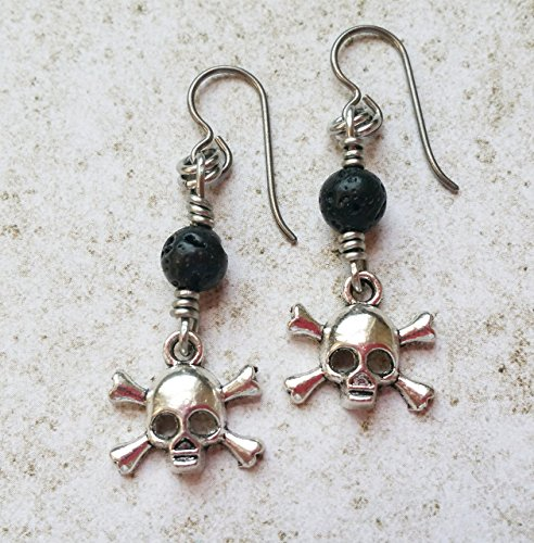 [Skull and Crossbones Earrings with Black Lava Rock on Hypoallergenic Niobium Ear Wires] (Easy Scary Costumes)