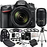 Nikon D7200 DX-format DSLR w/ 18-140mm VR Lens + Nikon 55-300mm f/4.5-5.6G ED VR AF-S DX Nikkor Zoom Lens (Black) - International Version (No Warranty) + 32GB Bundle 22PC Accessory Kit. Includes 32GB Memory Card + 2 Replacement EN-EL15 Batteries + 3PC Filter Kit (UV-CPL-FLD) + MORE