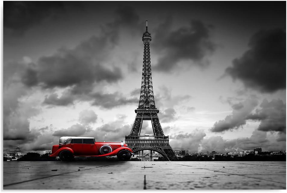 Feeby Frames Cuadro en Lienzo, Cuadro Impresión, Cuadro Decoración, Canvas 80x120 cm, Torre Eiffel, Coche, Rojo, Blanco Y Negro