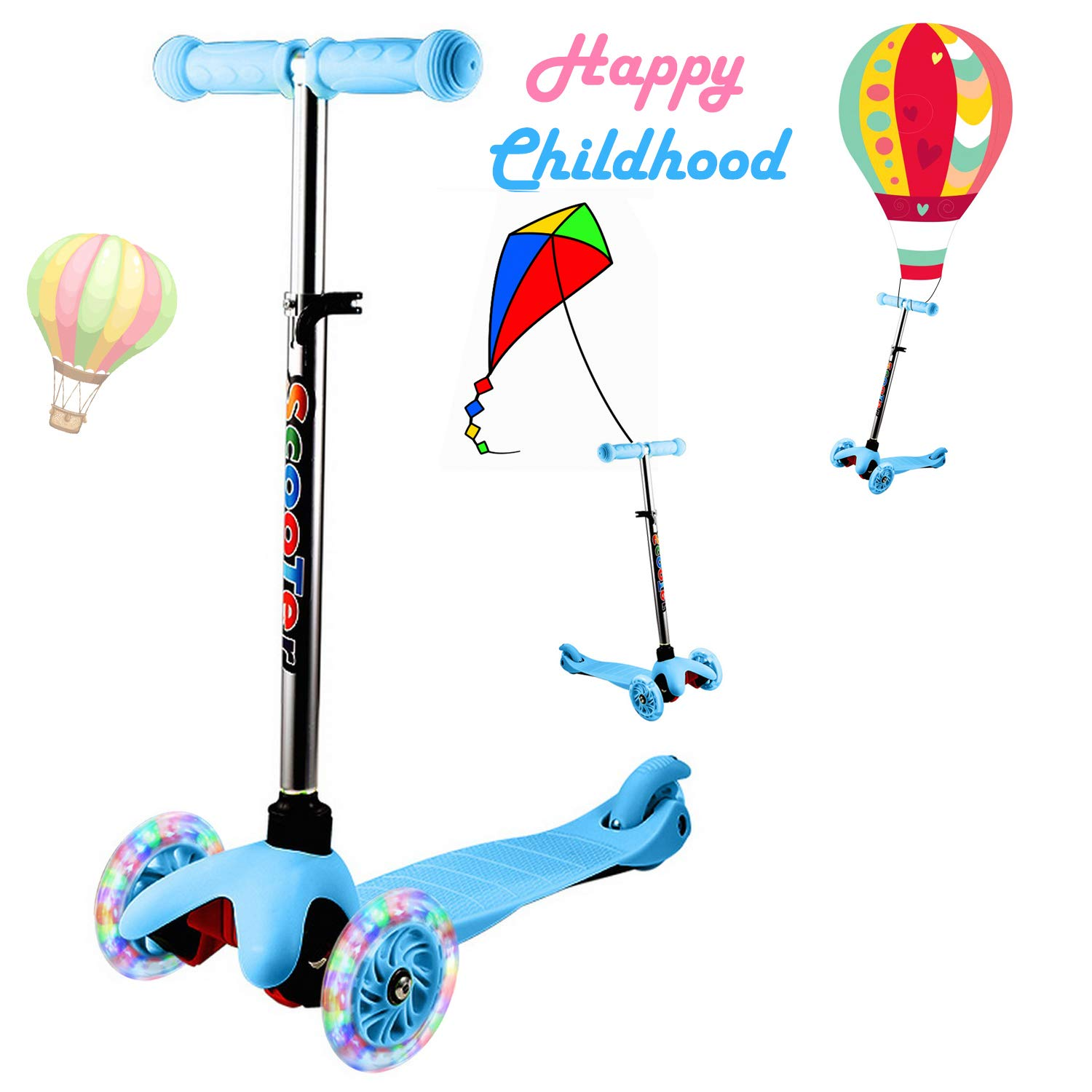 Kick Scooter for Kids with 3 PU LED Light up Wheels Adjustable Height Lean to Steer Extra Wide Deck Scooter Gift for Girls Boys Toddlers Age 3 up
