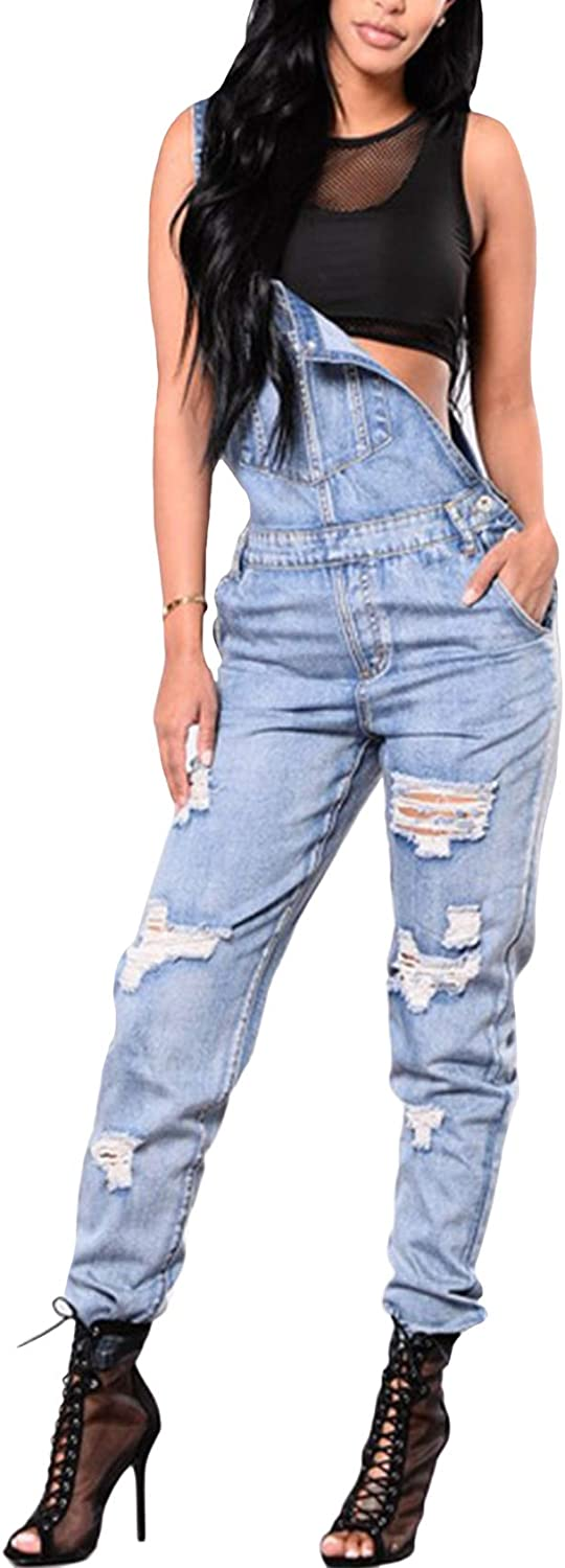 Bestgift Womens Washed Stretchy Ripped Denim Overalls S Light Blue
