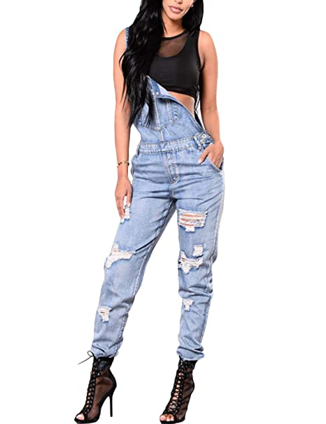 02595367366b Bestgift Women s Washed Stretchy Ripped Denim Overalls  Amazon.ca ...