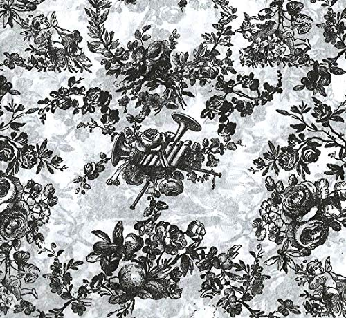 """Black Classic Toile Gift Wrapping Tissue Paper for Art DIY Crafts in Bulk # 551~10 Large Sheets Size 20"""" x 30"""""""