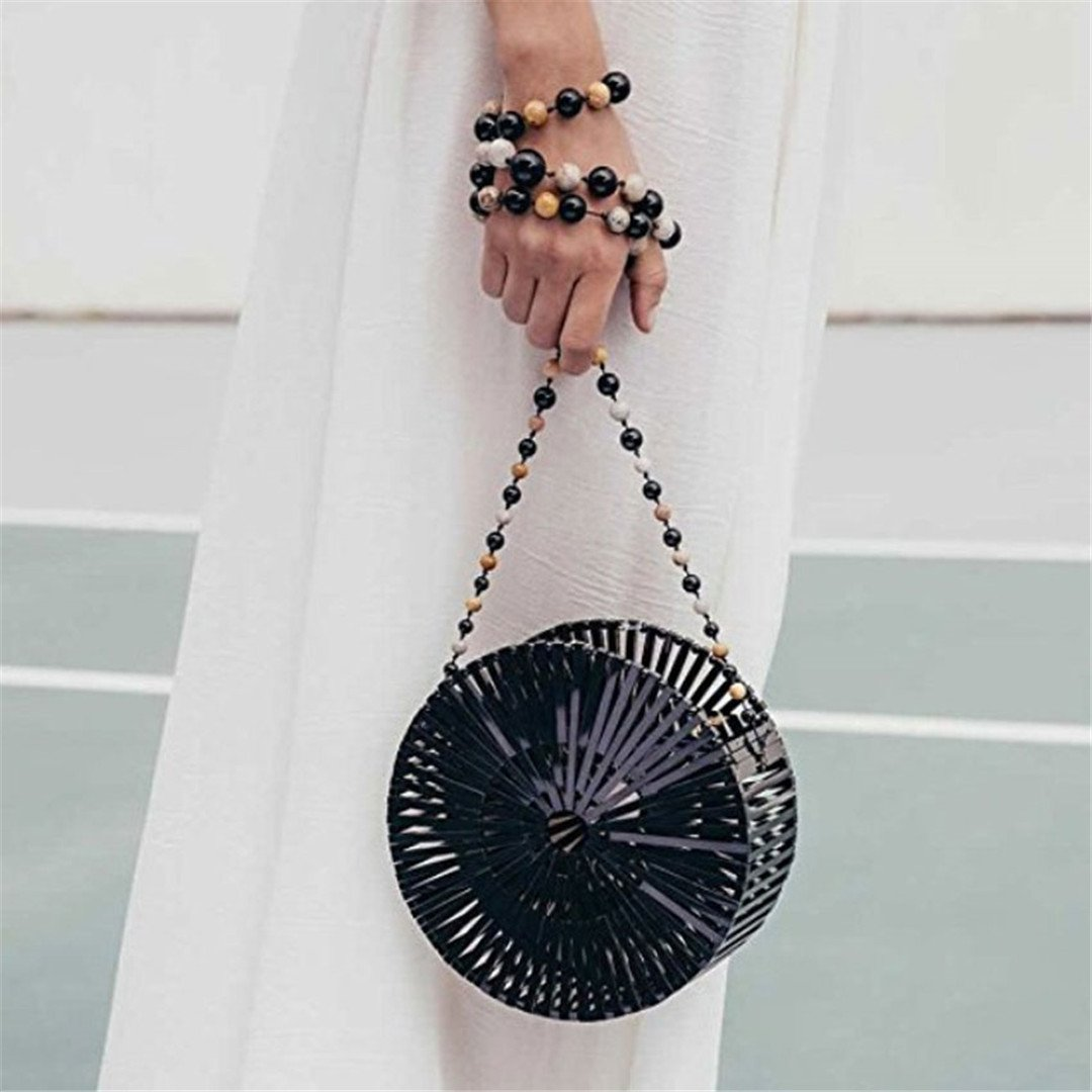 Amazon.com: Women Craft Bamboo Basket Bag Circle Straw Beach Bag Female Round Summer Woven Rattan Handbags Shoulder Bags For Women Black Big Size: Sports & ...