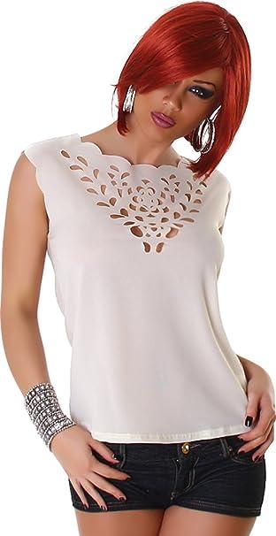 Jela London Damen Top Shirt Bluse Blusenshirt Transparent T-Shirt Ärmellos  Ohne Verschluss Trendy: Amazon.de: Bekleidung