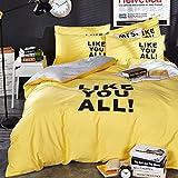 Beauty Decor Classi Stripe Duvet Cover Set Lemon Yellow Bedding Sets Lightweight Microfiber Comforter Cover with Pillow Shams, Twin