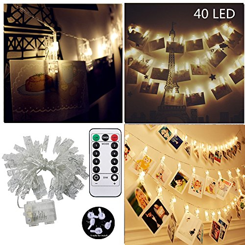 [Remote & Timer] 40 LED Photo Clips String Light, JulyFire 15 Ft 8 Modes Remote Control Battery Operated Dimmable Photo Display Starry Lamp , for Hanging Pictures Cards Notes, with 5 Wall Nails (Lamps Wall Hanging)