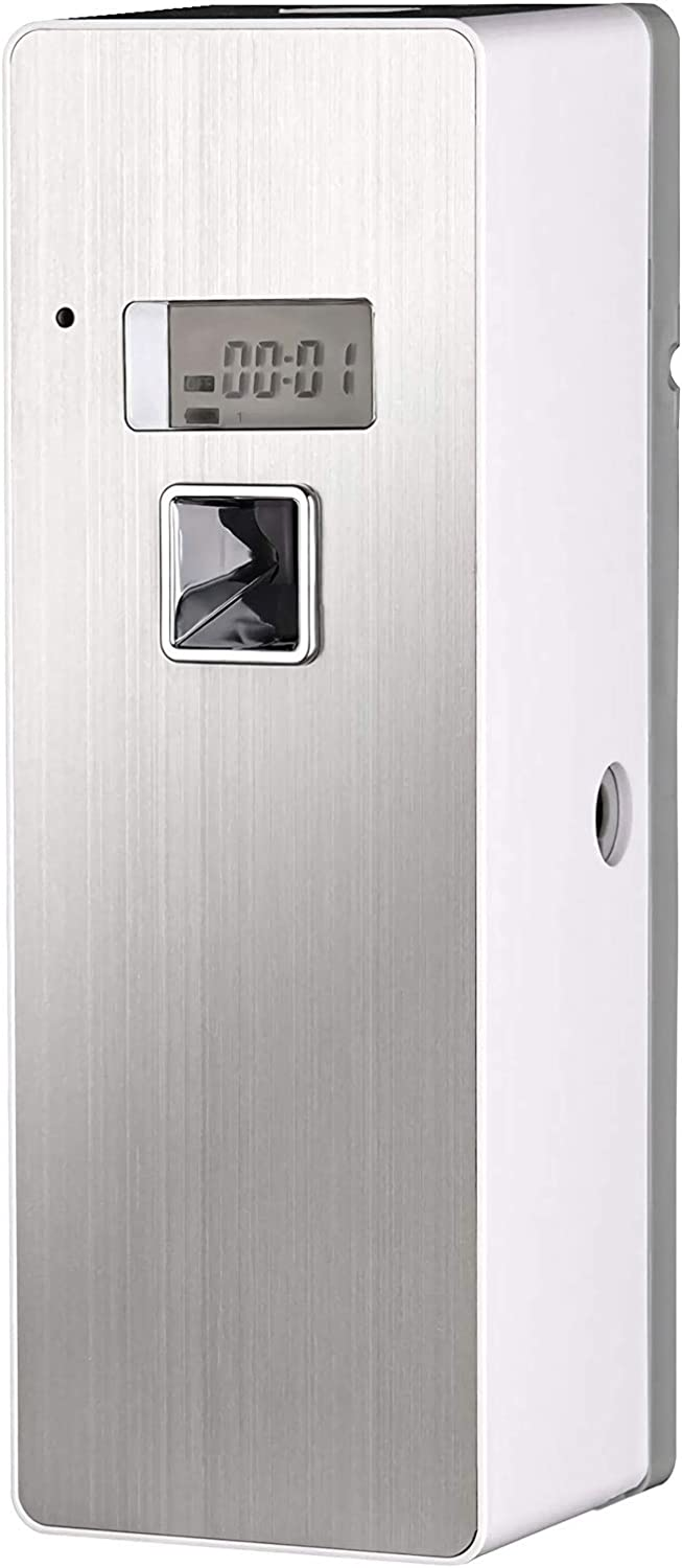 Lutriva Automatic Air Freshener Dispenser Free Standing Wall - Mounted Home Commercial Indoor Programmable Odor Neutralizing Automatic Air Freshener Fragrance Aerosol Spray Dispense (Silver,LCD)