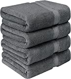 Utopia Towels Premium Combed Cotton Bath Towels, 4 Pack, Grey