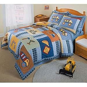2 piece kids boys construction themed quilt twin set work trucks bull dozer bedding - Dump truck twin bed ...
