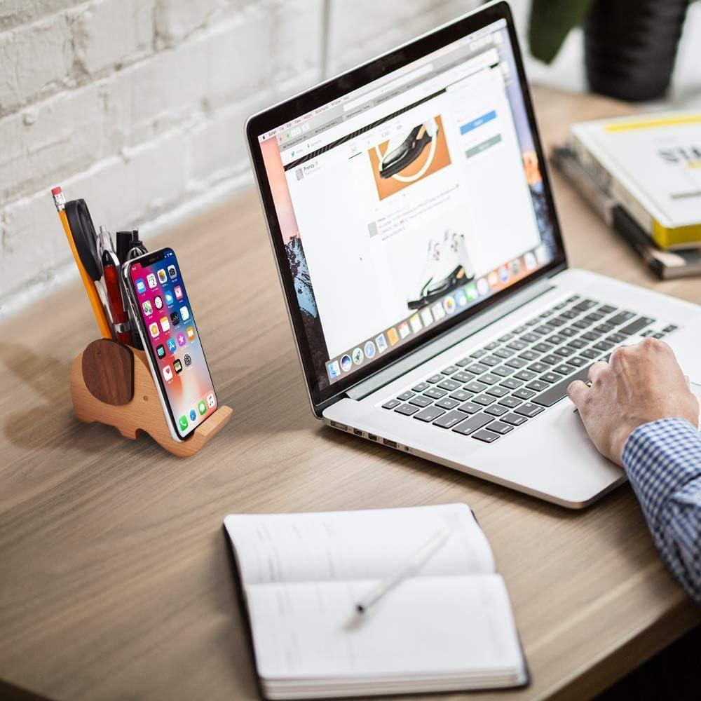 Size : S Animal Shape Solid Wood Mobile Phone Holder Multi-Function Pen Holder Desk Desktop Decoration Bracket Miyabitors Wooden Mobile Phone Holder