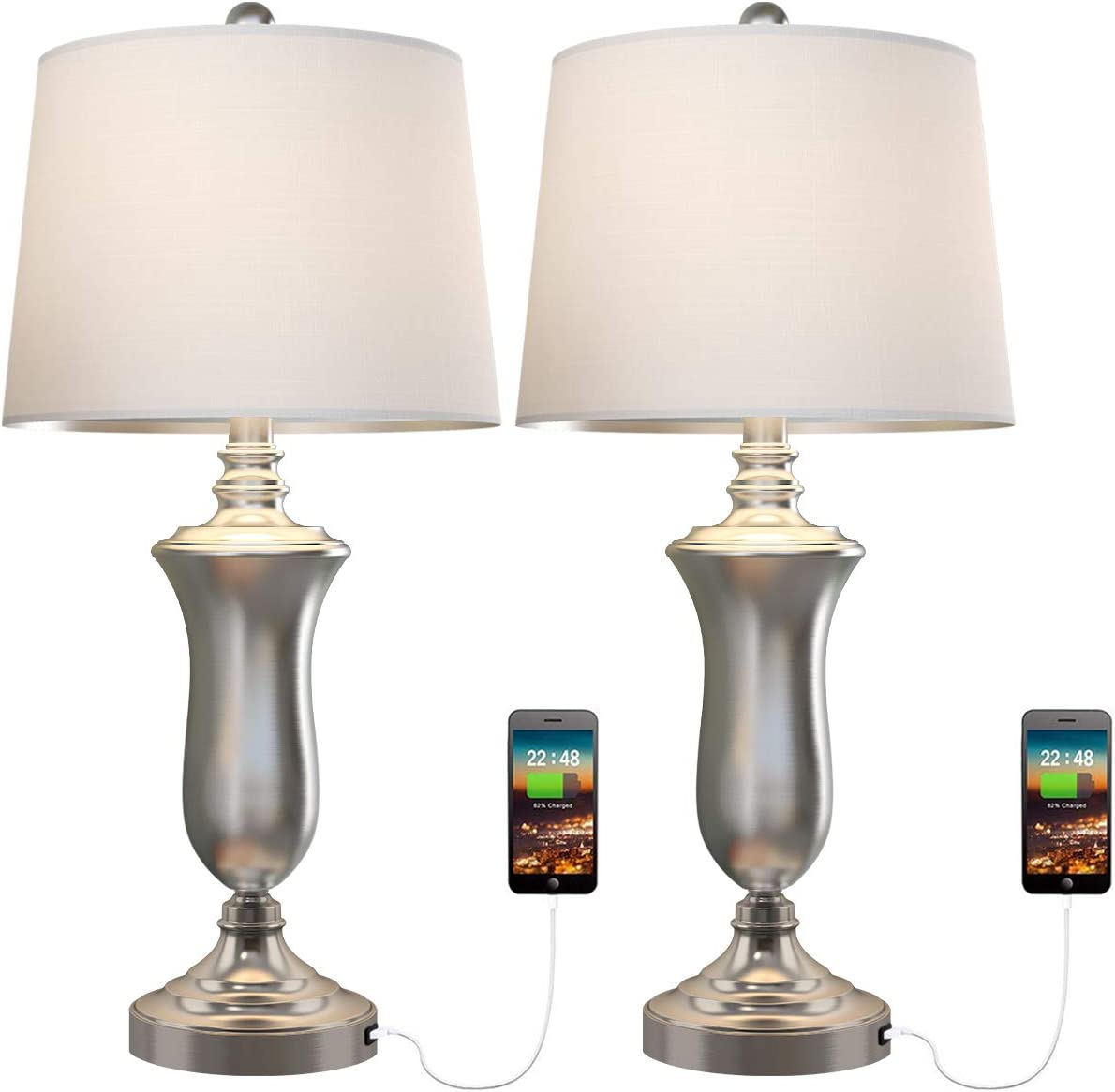 Amazon Com Oneach Modern Usb Table Lamp Set Of 2 For Living Room Bedroom Brush Steel 25 Bedside Nightstand Lamps With White Drum Shade Home Improvement