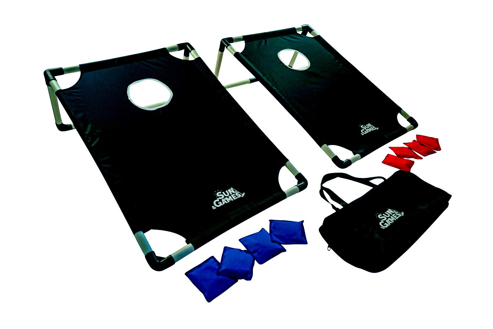 Portable PVC Cornhole Game Set Made with All-Weather, Tear-Resistant Fabric | 8 Beanbags and Carry Case | Tailgate Size by Sun & Games
