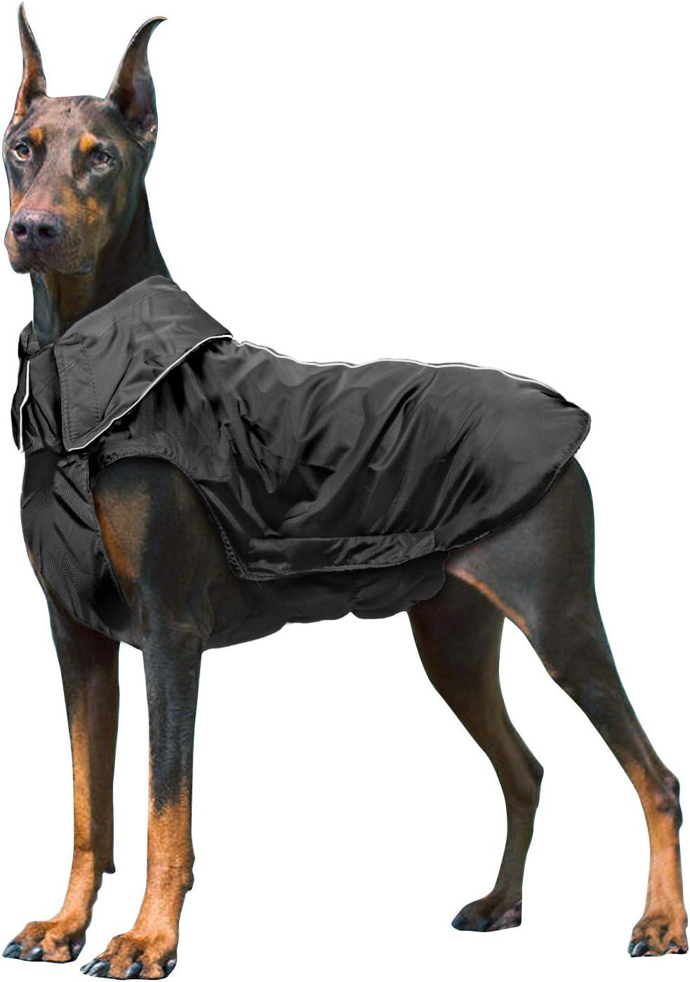 IREENUO Chaqueta 100% Impermeable para Mascotas Perros Abrigos de Invierno cálido Negro-3XL