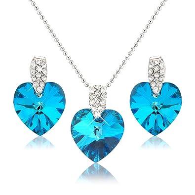 Amazon.com  Ocean Blue Heart Necklace and Earring Set - Swarovski ... 693e93575c