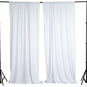 BalsaCircle 10 ft x 10 ft White Polyester Photography Backdrop Drapes Curtains Panels - Wedding Decorations Home Party Reception Supplies