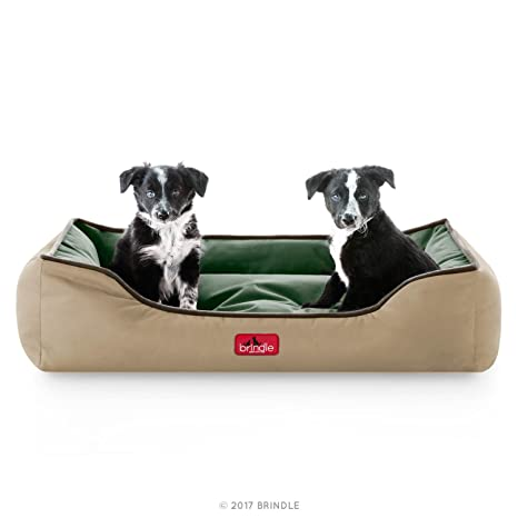 Brindle Waterproof Bolster Dog Bed With Reversible Color Design Durable Indoor Or Outdoor Pet Bed