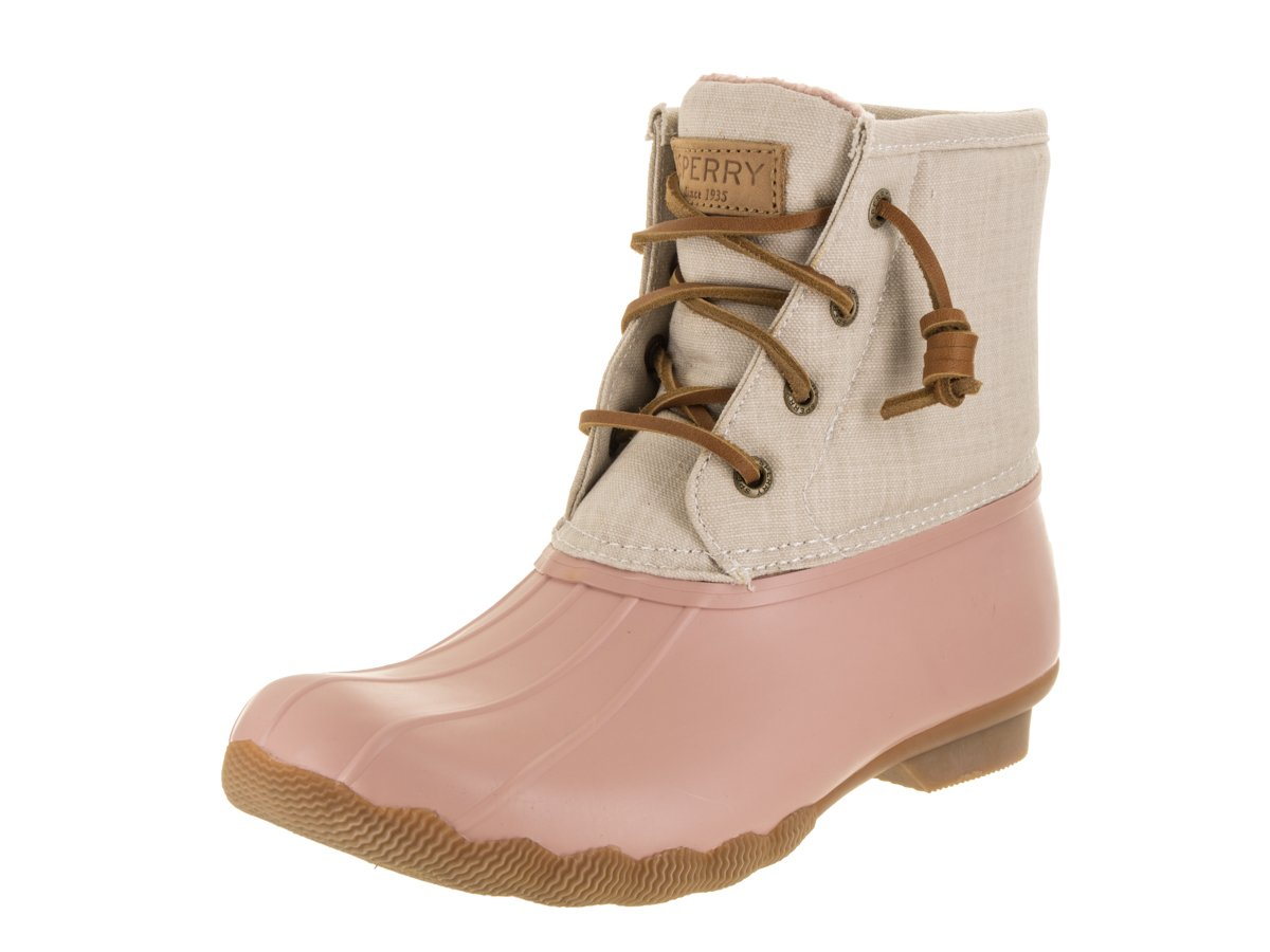 Sperry Womens Saltwater Canvas Duck Rose/Oat Boot - 8 M