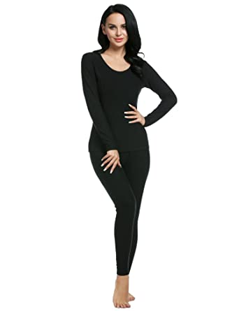 825358f7bdbc71 Goldenfox Womens Cotton Long Underwear O Neck Soft Long Johns Sets Winter  Thermals (Black,