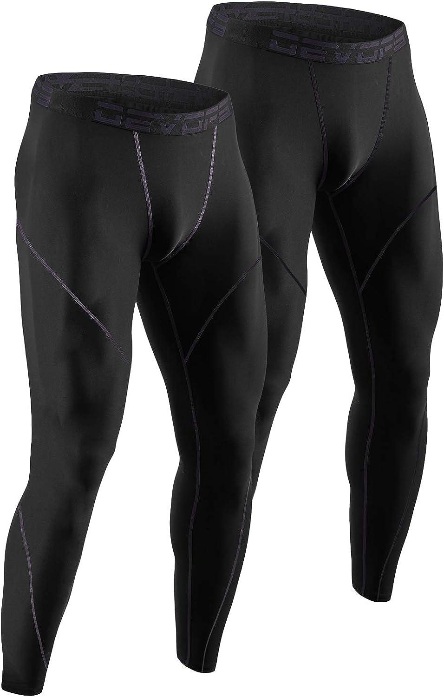 DEVOPS Men's Thermal Compression Pants, Athletic Leggings Base Layer Bottoms (2 Pack)