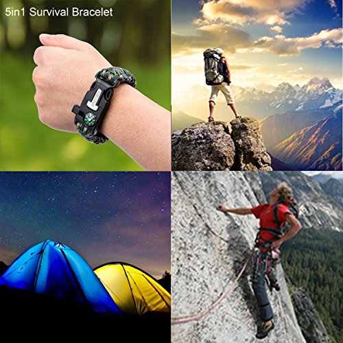 Epartswide Multifunctional Outdoor Survival Paracord Bracelet with Flint Fire Starter,Compass,Emergency Whistle&Knife/Scraper Pack of 7 by Epartswide (Image #6)