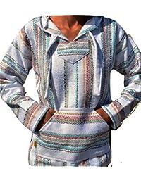 Baja Hoodie White Fiesta Mexican Drug Rug Pullover Poncho Sweatshirt S M L XL 3XL