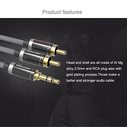 Amazon.com: Vention 2 RCA Jack Plug Stereo Aux Cable 10ft HIFI 3.5mm to 2 RCA Audio Cable Gold-plated for Home Theater DVD VCD Headphones (10ft/3M): Home ...