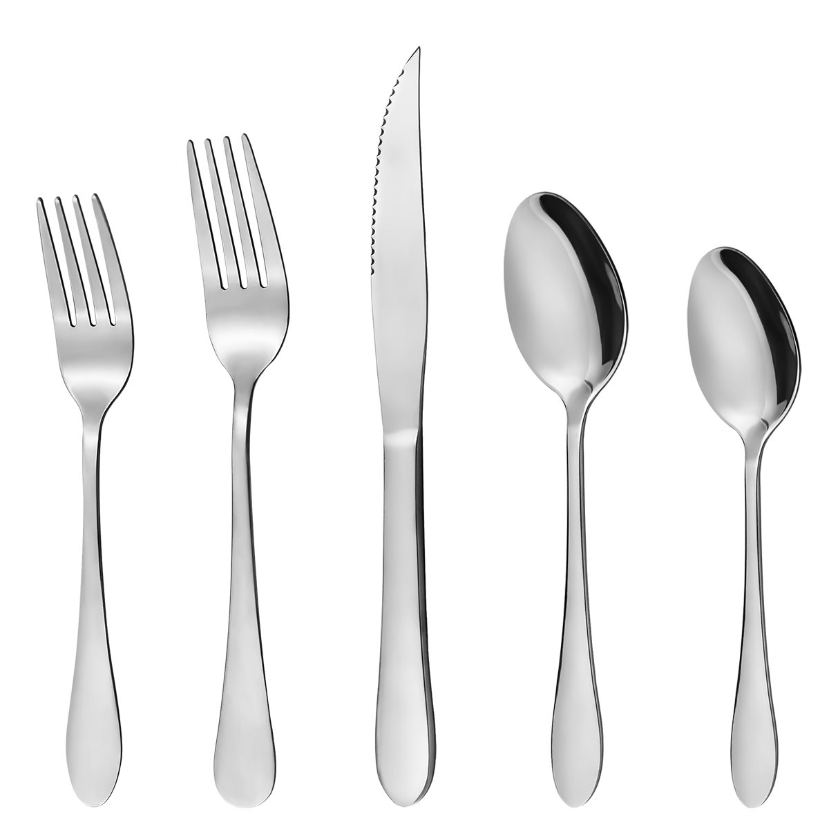 Hippih Food Grade Stainless Steel Flatware 20 Piece Anti-Scald Metal Cutlery Set