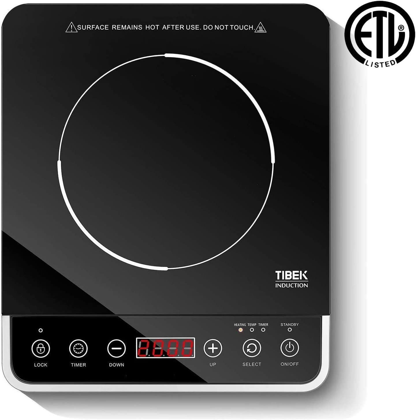 Induction Cooktop,1800 Watt Portable Induction Burner for Rapid Heating, Induction Cooker with 10 Power Temperature Settings, Up to 180 mins Built-in Timer, Smart Sensor Touch Panel, Kids Safety Lock