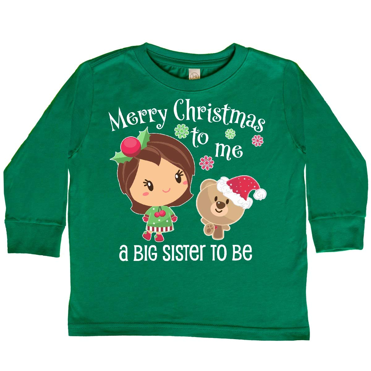 inktastic Merry Christmas to Me a Big Sister to Be Toddler Long Sleeve T-Shirt