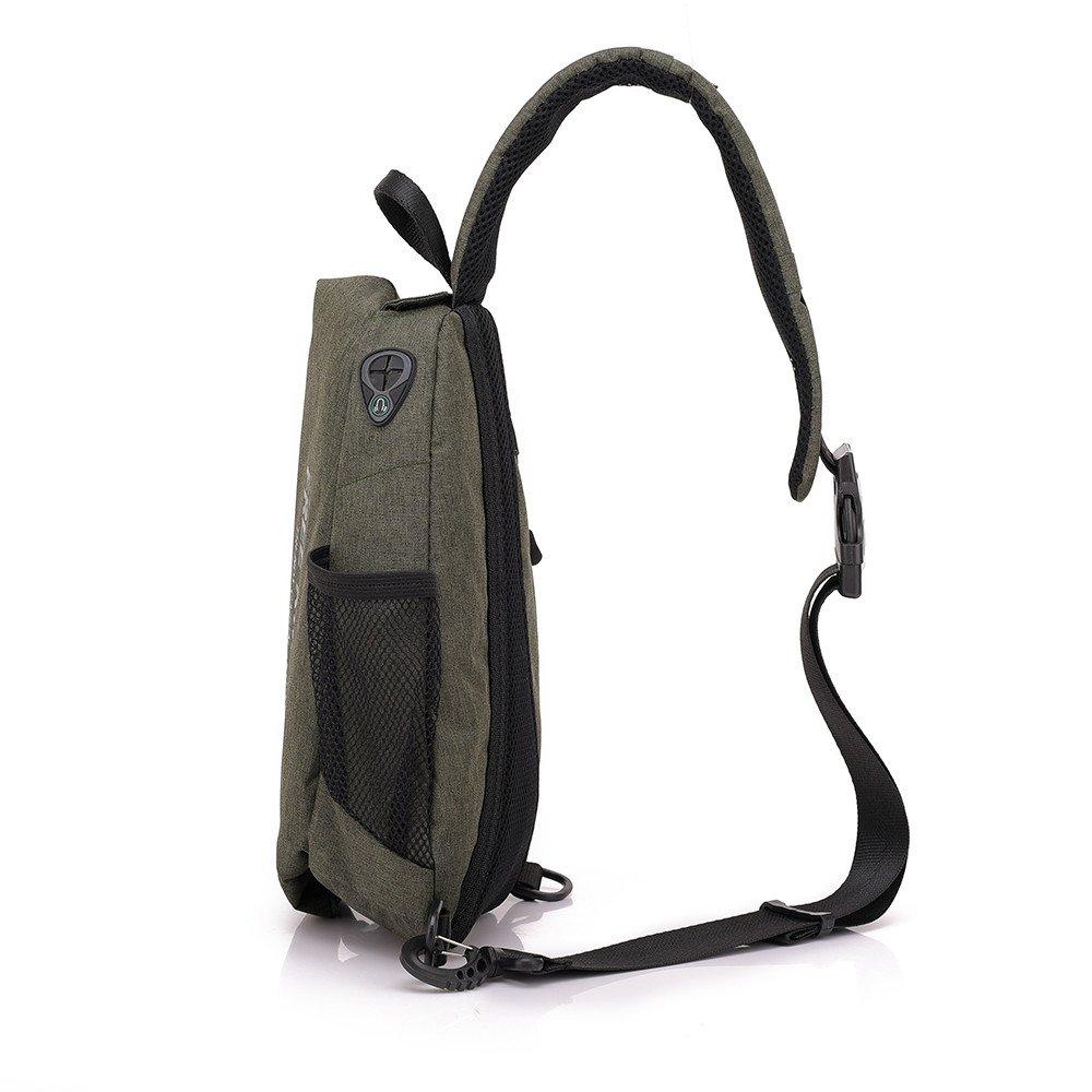 Businda Sling Bags Men Shoulder Backpack, Bike Riding Crossbody Pack with Earphone Hole USB Charging Hole Waterproof Daypacks for Gym Sport Men Women
