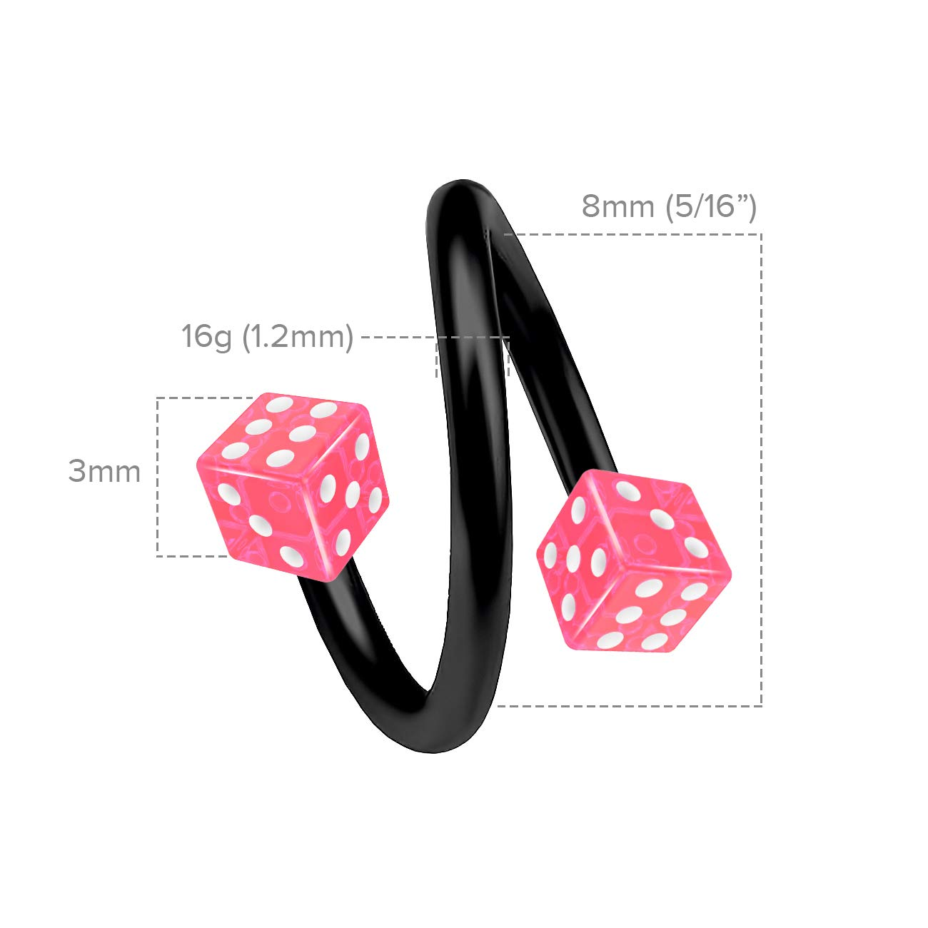 2pc Twisted Barbell 16g Dice Piercing Earrings Helix Cartilage Twist 316LVM Surgical Steel Daith Spiral Belly Button Ring Navel Gauge Twister Black Body Jewelry 10mm Pink 3mm Anodized Ball