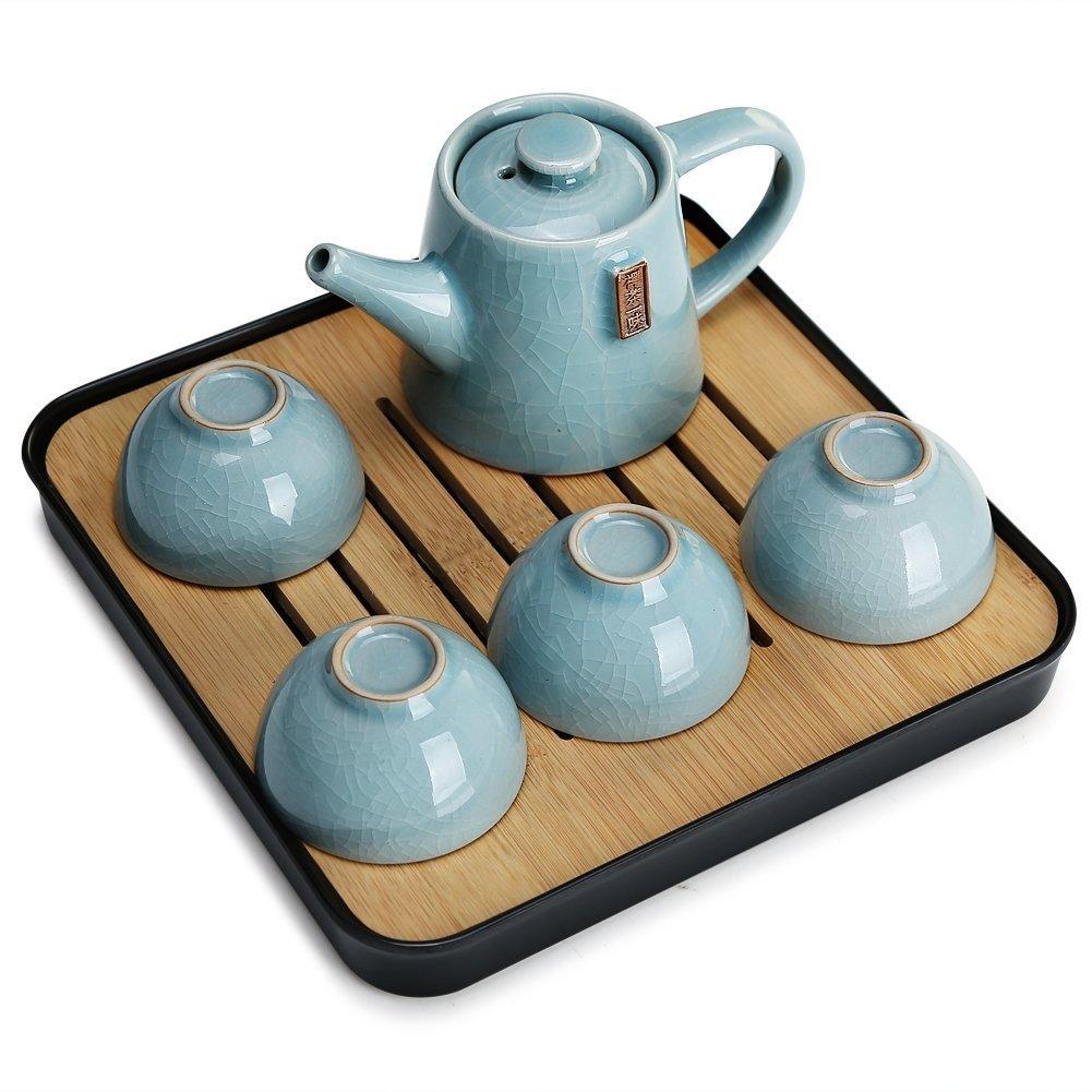 A E/&A Portable Chinese Kongfu Tea Set Travel Ceramic Porcelain Tea Ware Teapot Canister Teacups Tea Clip Towel Tray