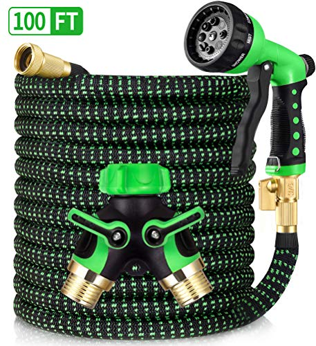 HBlife 100ft Garden Hose, All New 2020 Expandable Water Hose with 3/4″ Solid Brass Fittings, Extra Strength Fabric – Flexible Expanding Hose with Free Water Spray Nozzle, 2-Way Hose Splitter