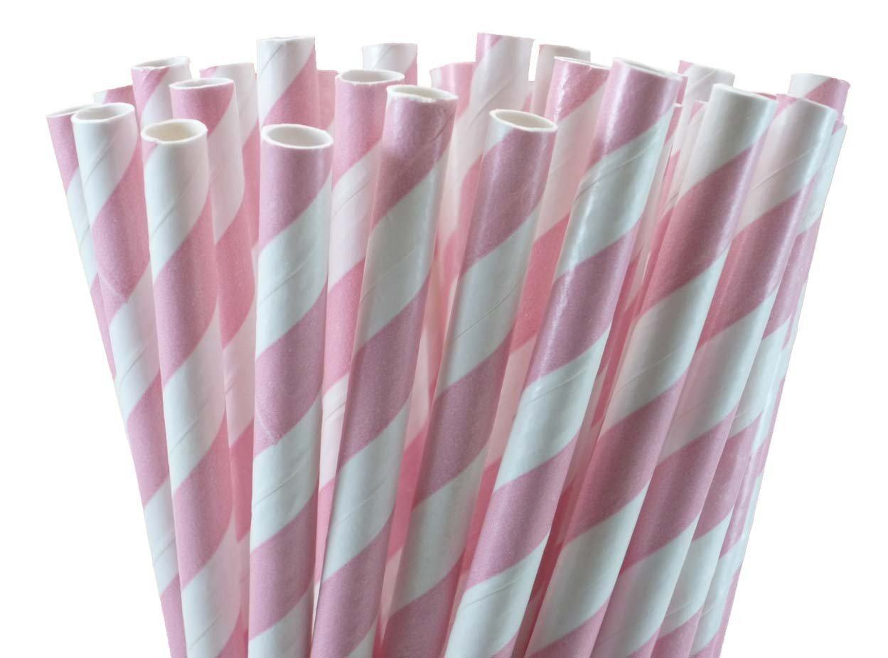 25 Paper Drinking Straws Baby Pink Stripes 7.75 Retro Vintage Style Durable by VvW(TM) by VvW(TM) (Image #1)