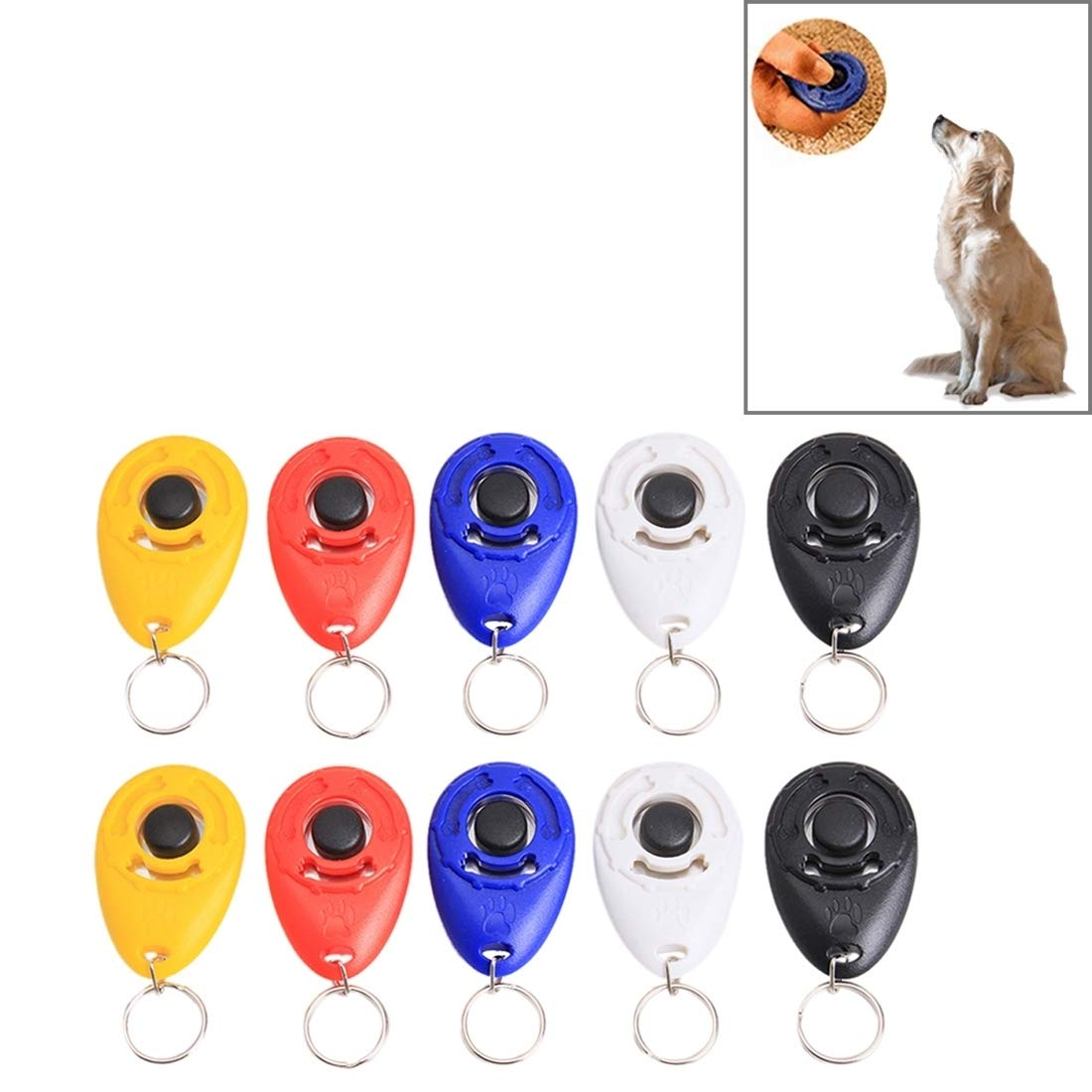 VAXT Random Gloss Delivery, Manoeuver 10 PCS Pet Training Clicker Button Water Droplets Style Dog Training Whistle with Key Chain