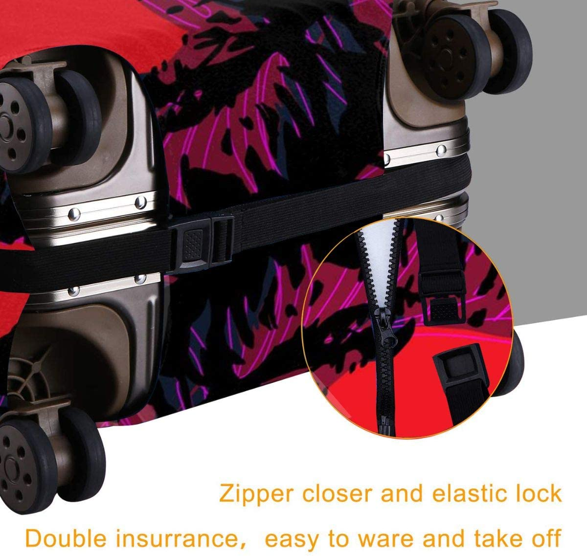 God-zilla Elastic Travel Luggage Cover,Double Print Fashion Washable Suitcase Protective Cover Fit For 18-32 Inch Luggage