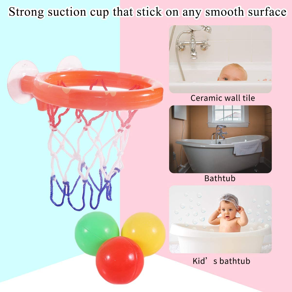 Fun Playset for Toddlers in Bathroom for Boys /& Girls Hard Mini Basketball Bathtub Basketball Shooting Game with Suction Cup KXT Bath Toys Easy Installation Toy