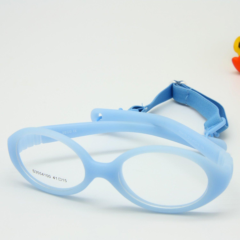 EnzoDate Flexible No Schraube Mädchen Brillen Größe 41/15 mit Kordel, jungen Gläser & Gurt, Kinder Brille, Brille biegsamen Safe Baby