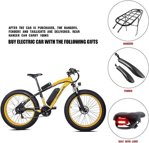 Shengmilo 1000W Motor Eléctricas 26 Pulgadas Mountain E-Bike Bicicleta Plegable Eléctrica Neumático Gordo de 4 Pulgadas Shimano 21 Speed & XOD Brake (Amarillo): Amazon.es: Deportes y aire libre