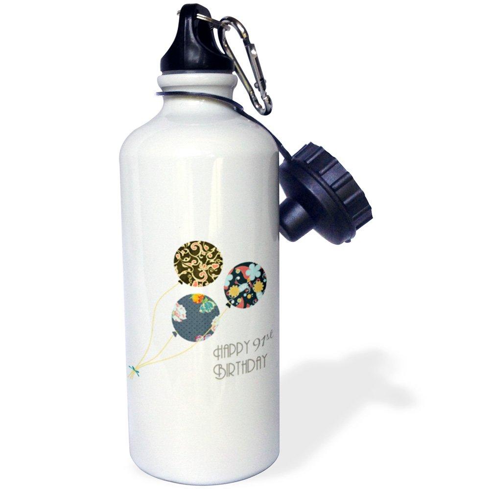 White 3dRose wb/_162032/_1Happy 91st Birthday-Modern stylish floral Balloons Elegant black brown blue 91 year old Bday Sports Water Bottle 21 oz