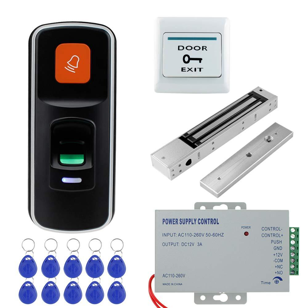 280KG // 600lbs Cerradura magn/ética electr/ónica Fuente de alimentaci/ón 12V 3A NN99 Sistema de control de acceso RFID con huella dactilar Lector biom/étrico 10pcs Llaveros Soporte para tarjeta SD