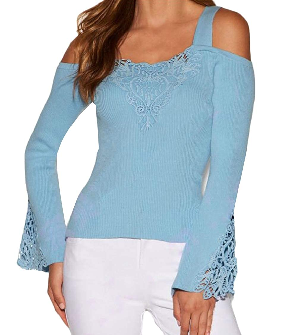 Sweatwater Women Hollow Cold Shoulder Flared Sleeve Patchwork Classic Knitted Lace Top Blouse T-Shirts