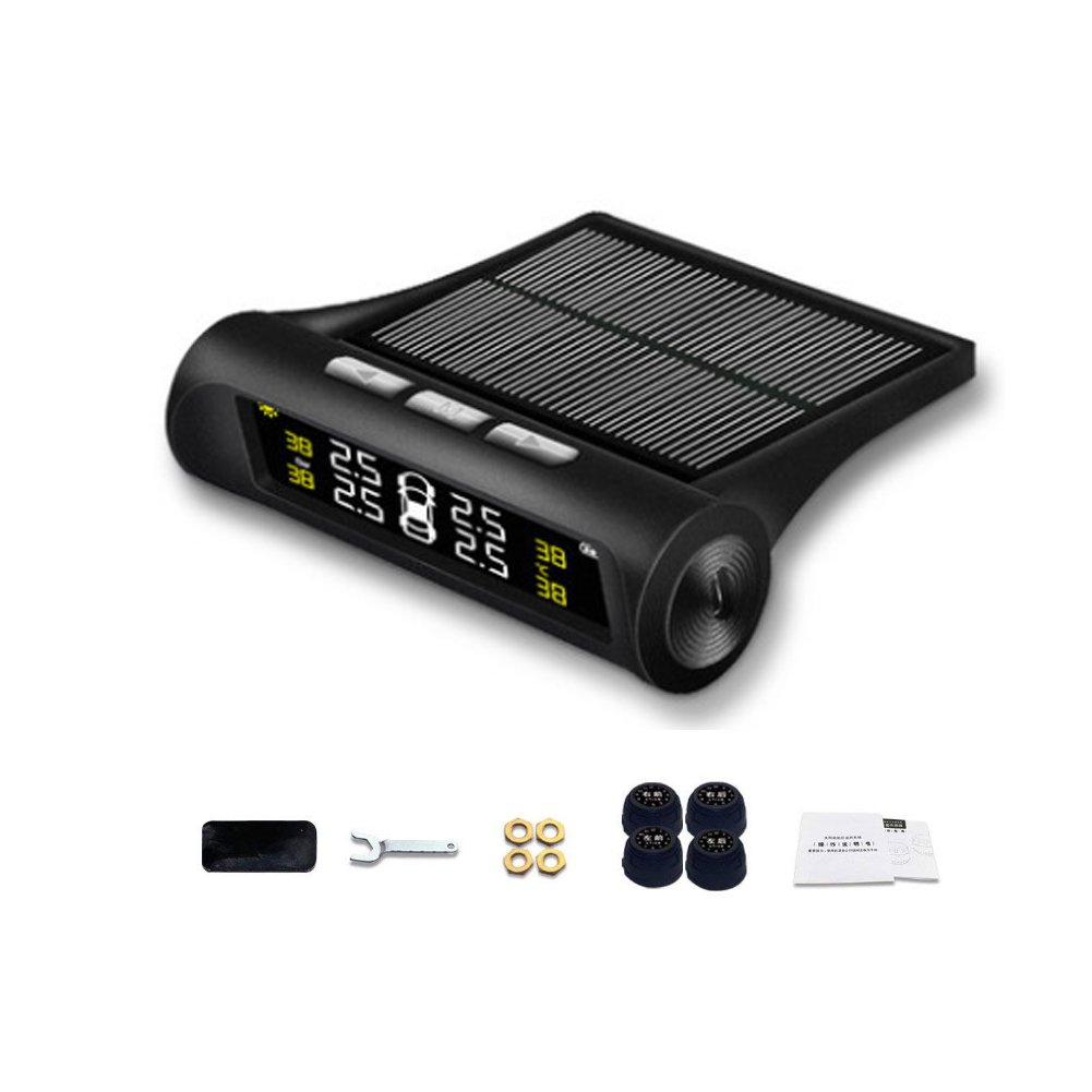 Beyondsky Solar Power Car Auto TPMS Tire Pressure LCD Monitor System Wireless Rear-time Monitoring + 4 Sensors