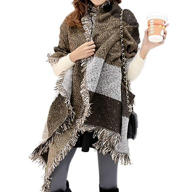 10bb9d92188d10 UMIPUBO Donna Tassel Sciarpa Inverno Signore Sciarpa Di Grandi Cachemire  Lattice Grande Sciarpa (Kaki sciarpa